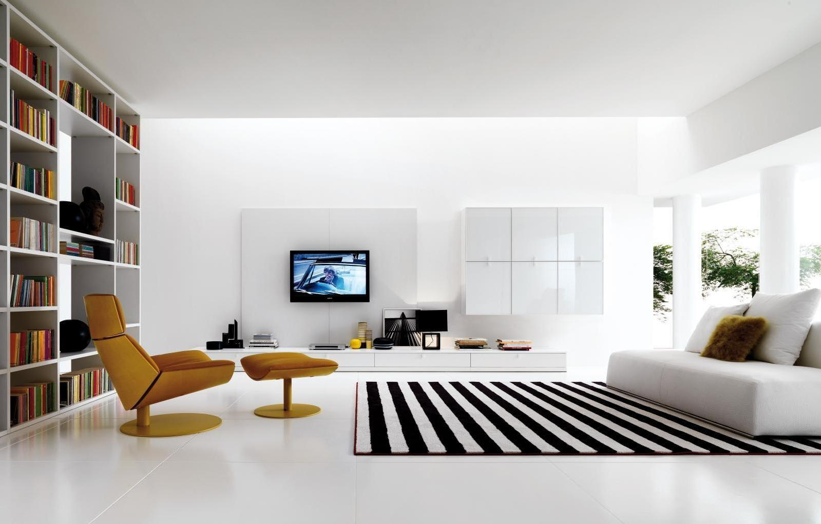 Gorgeous living room furniture in modern style with striped rug on floor beside brown lounge chair as well bookcase in the nearby
